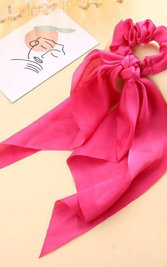 Cerise Pink Satin Scrunchie Bow Knot Hair Tie by Olivia Divine Jewellery