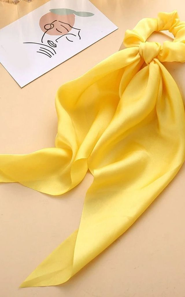 Yellow Satin Scrunchie Bow Knot Hair Tie by Olivia Divine Jewellery