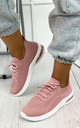 Elaina Knitted Trainers in Pink by Larena Fashion