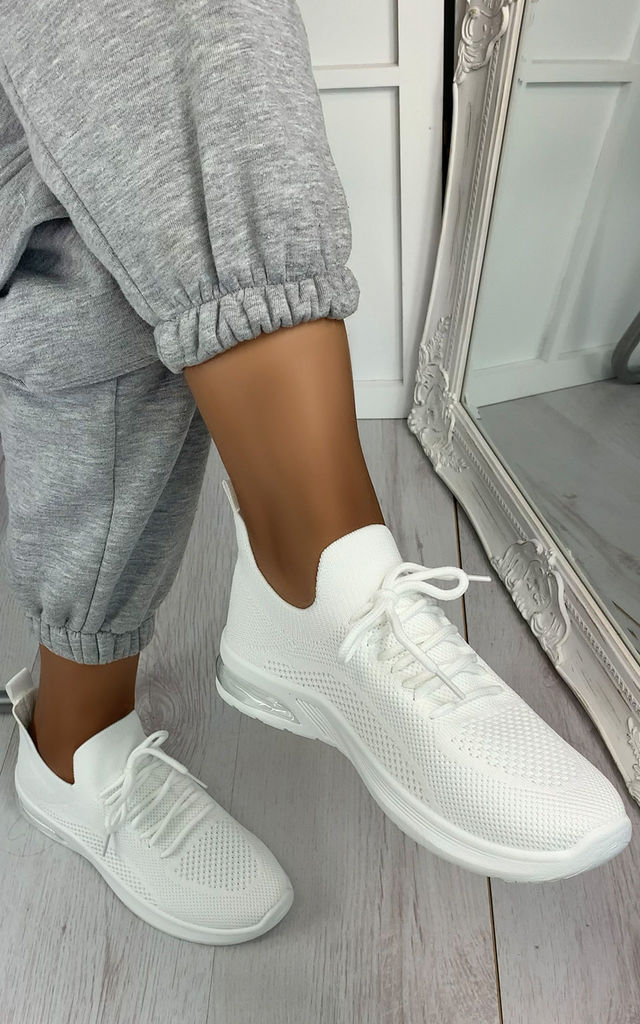 Elaina Knitted Trainers in White by Larena Fashion