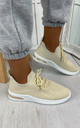 Elaina Knitted Trainers in Beige by Larena Fashion