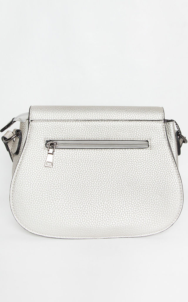 Silver Chain Cross Body Flap Saddle Hand Bag by Tabitha Rose