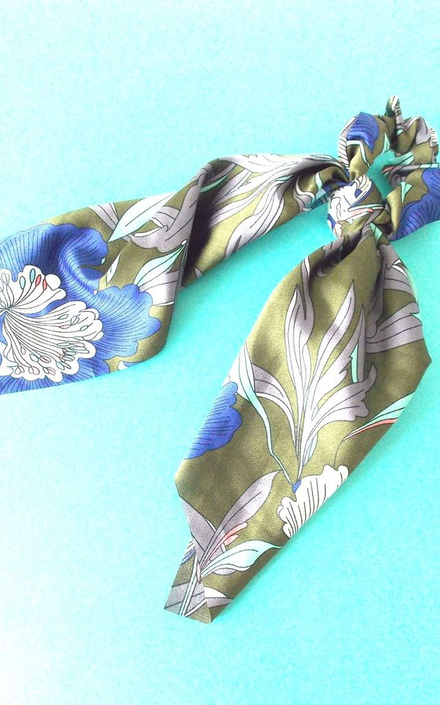 Khaki Green and Blue Tropical Scrunchie Hair Tie by Olivia Divine Jewellery