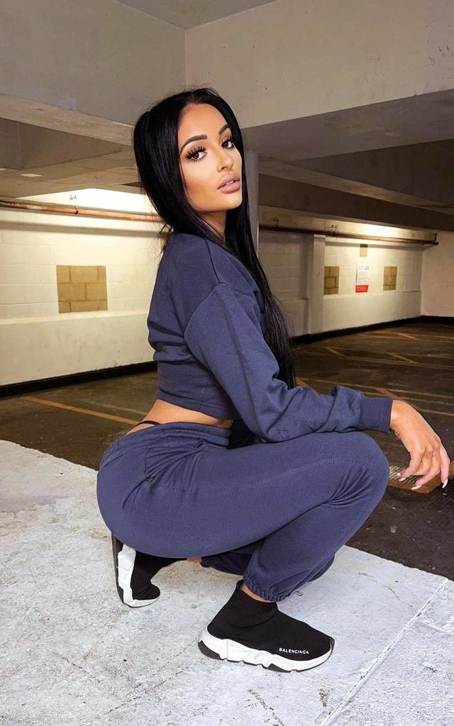 Sasha Navy Under Bra Waisted Sweatshirt Tracksuit Set by Nazz Collection
