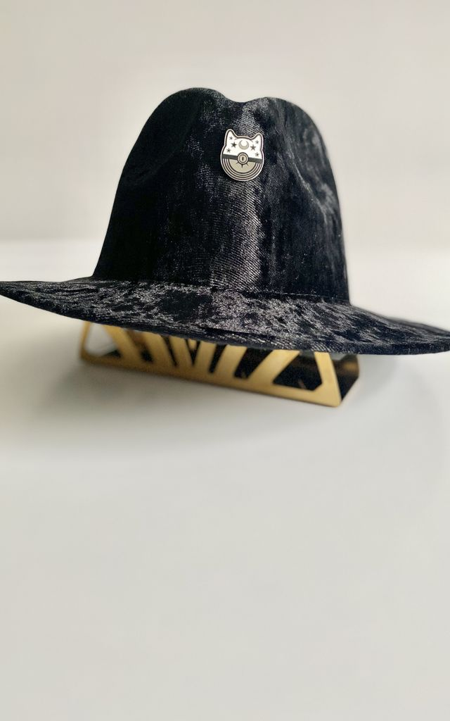 Black moon star kitty cat fedora hat by Kate Coleman