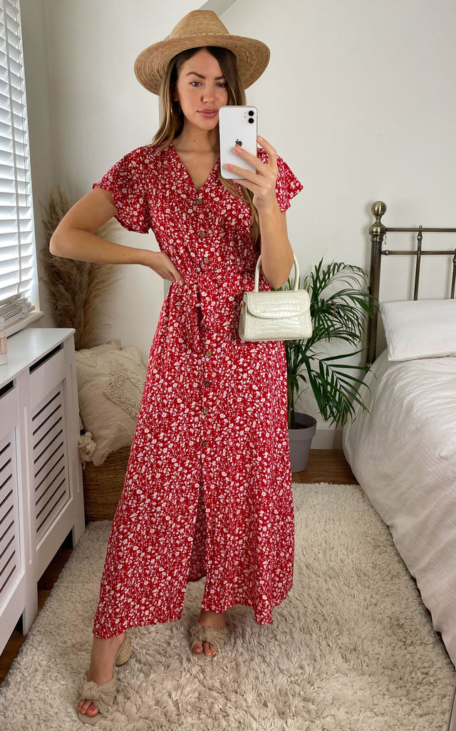 Belted Floral Maxi Dress In Red by KURT MULLER