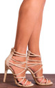 Nude Faux Suede Strappy Sandals High Heels Peep Toes by Shoe Closet