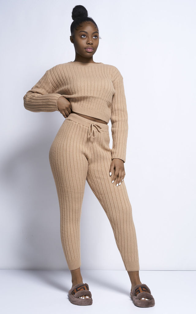 Ayla Premium Quality Rib Knit Crop Top & Jogger Co ord Set in Tan by Miss Diva