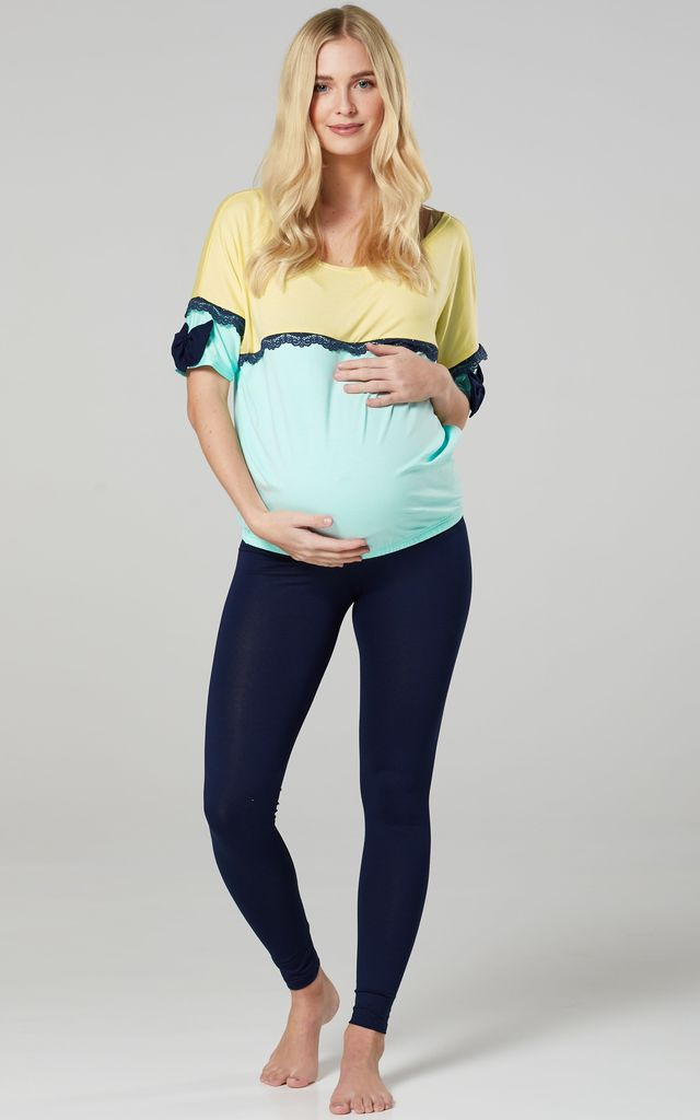 Women's Maternity Nursing Pyjama Loungewear Set Yellow & Mint & Navy by Chelsea Clark