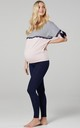 Women's Maternity Nursing Pyjama Loungewear Set Grey Melange & Powder Pink & Navy by Chelsea Clark