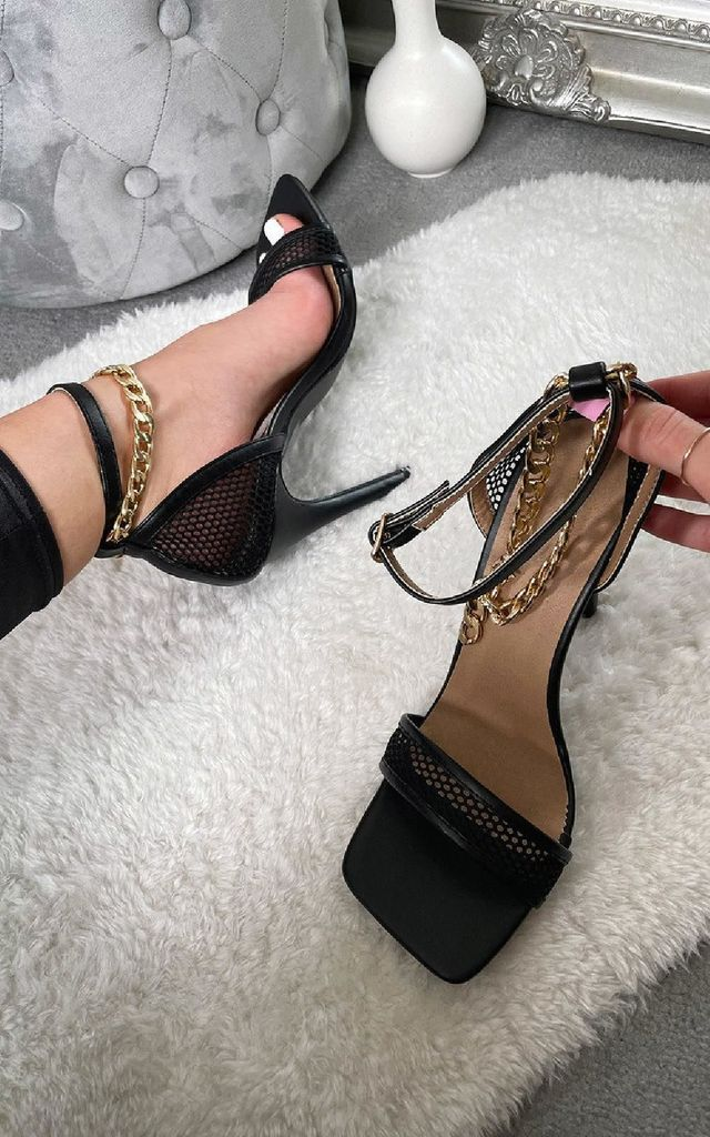 Gosia Chain Detail Heels in Black by IKRUSH