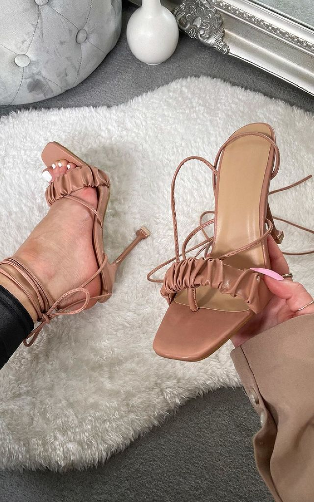 Zizi Strappy Mule Heels in Rose by IKRUSH
