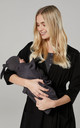 Women's Maternity Labour Set with Matching Baby Blanket & Hat  Graphite Melange & Black by Chelsea Clark