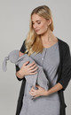 Women's Maternity Labour Set with Matching Baby Blanket & Hat Grey Melange & Graphite Melange by Chelsea Clark