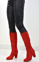 Julia Block Heel Boots In Red Faux Suede by XY London