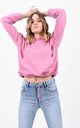 Pink Drawstring Hem Basic Hoodie by Boutique Store