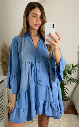 Tiered Denim Mini Dress In Light Blue by Bella and Blue Product photo