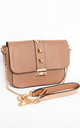 Taupe Gold Chain Cross Body Hand Bag by Tabitha Rose