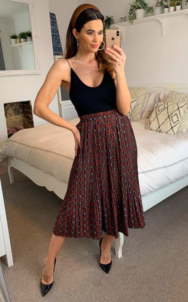 Check/Stripe Pleated Midi skirt in Brown by Shikha London
