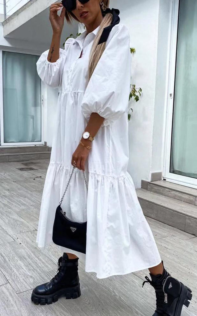Summer Small Collar Mid Sleeve Maxi Dress In White by XY London