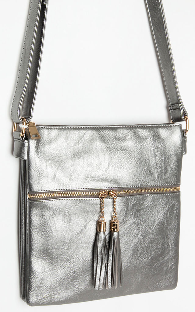 Silver Metallic Cross Body Tassels Hand Bag by Tabitha Rose