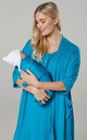 Women's Labor Gown with Matching Baby Blanket & Dressing Gown in Aqua by Chelsea Clark