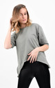 Khaki Short Sleeve Side Zip Split Basic T-Shirt by Boutique Store