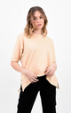 Sand Short Sleeve Side Zip Split Basic T-Shirt by Boutique Store