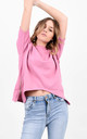 Pink Short Sleeve Side Zip Split Basic T-Shirt by Boutique Store