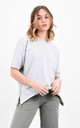 Grey Short Sleeve Side Zip Split Basic T-Shirt by Boutique Store