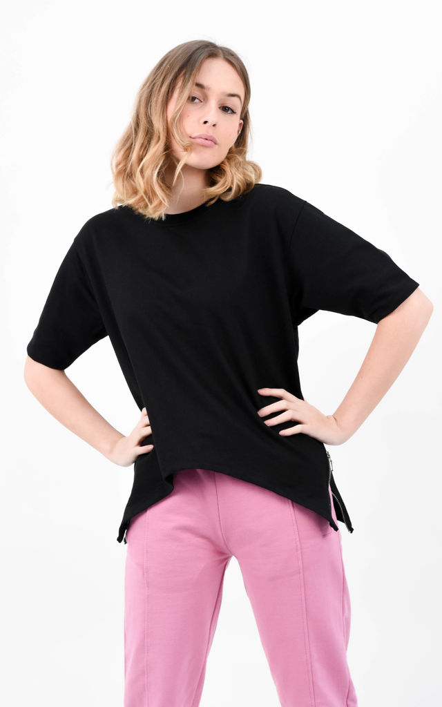 Black  Short Sleeve Side Zip Split Basic T-Shirt by Boutique Store