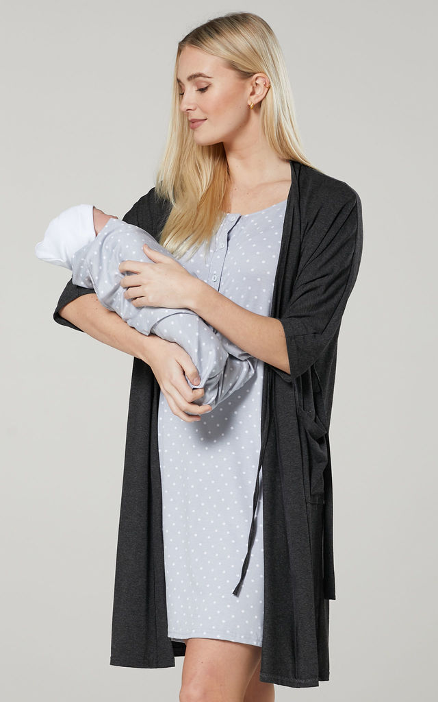 Women's Labor Gown with Matching Baby Blanket & Dressing Gown in Graphite Melange & Grey with Dots by Chelsea Clark