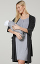 Women's Labor Gown with Matching Baby Blanket & Dressing Gown in Graphite Melange & Grey Melange by Chelsea Clark