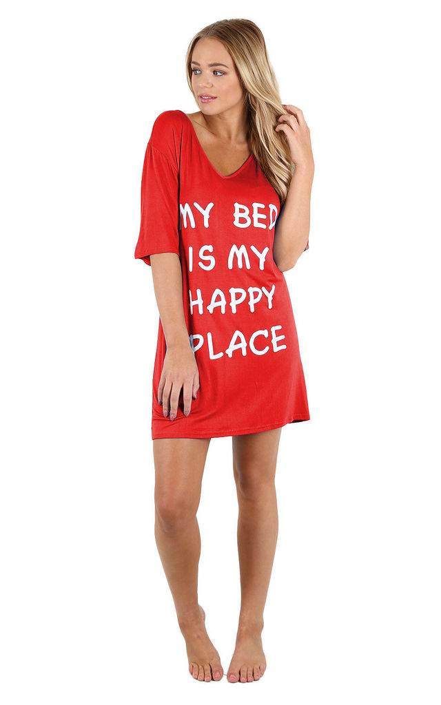 Harriet Slogan Print Night Dress In Red by Oops Fashion