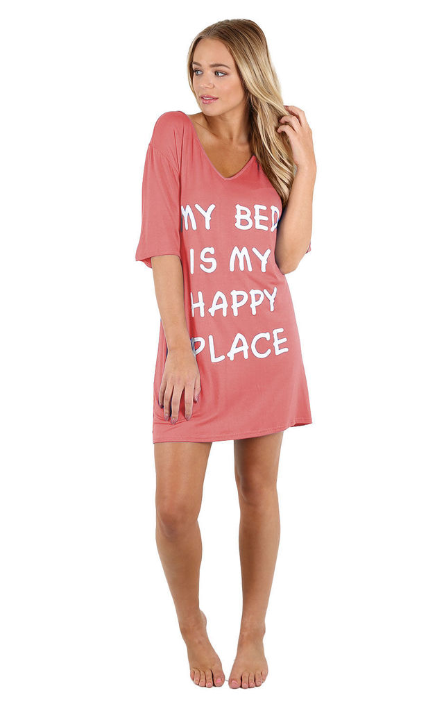 Harriet Slogan Print Night Dress In Rose by Oops Fashion