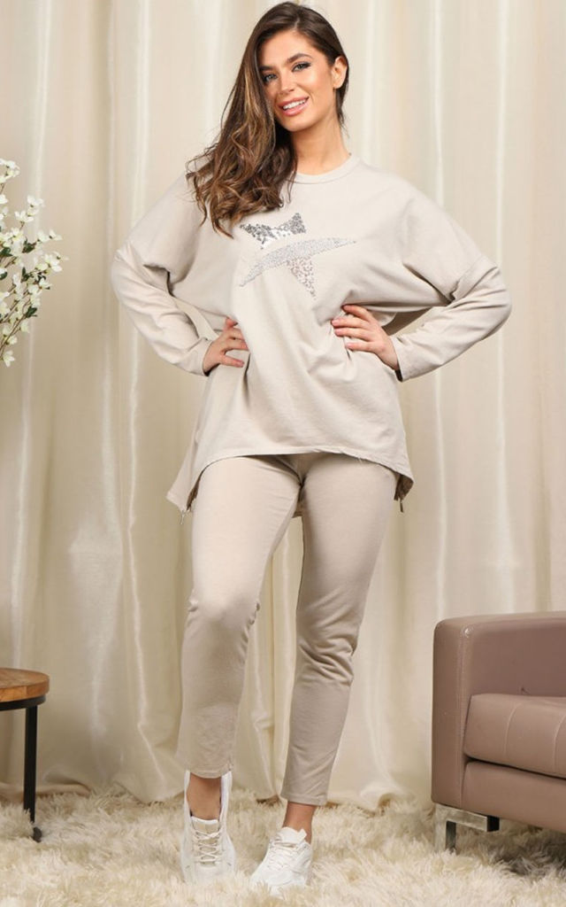 Sequin Star Loungewear set  in beige by LOES House
