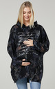 Women's Maternity Flower Print Long Sleeve Hoodie in Black by Chelsea Clark
