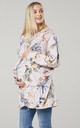 Women's Maternity Flower Print Long Sleeve Hoodie in Powder Pink by Chelsea Clark
