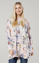 Women's  Flower Print Long Sleeve Hoodie in Powder Pink by Chelsea Clark