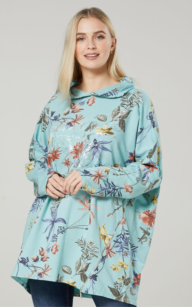 Women's  Flower Print Long Sleeve Hoodie in Mint by Chelsea Clark