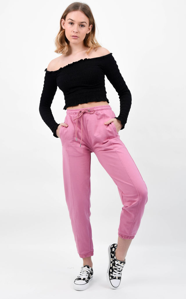 Pink High Waist Basic Cuffed Hem Joggers by Boutique Store