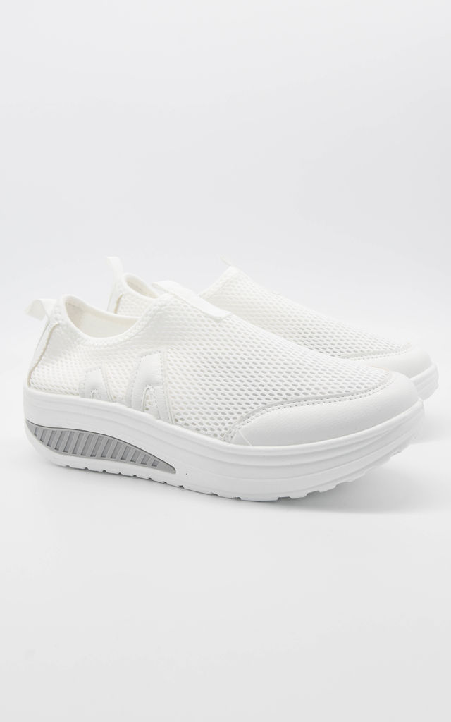White Contrast Platform Sole Knitted Mesh Trainer by Boutique Store