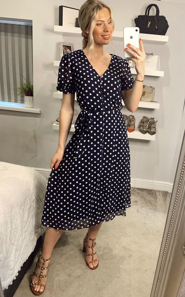 Polka Dot Tie Tea Dress In Navy by Mela London