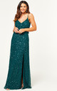 Bridesmaid Maxi Dress with Embellished Scatter Sequins in Emerald Green by ANGELEYE