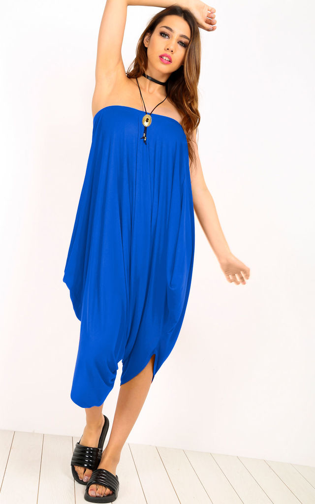 Strapless Hareem Cropped Playsuit in Royal Blue by Oops Fashion