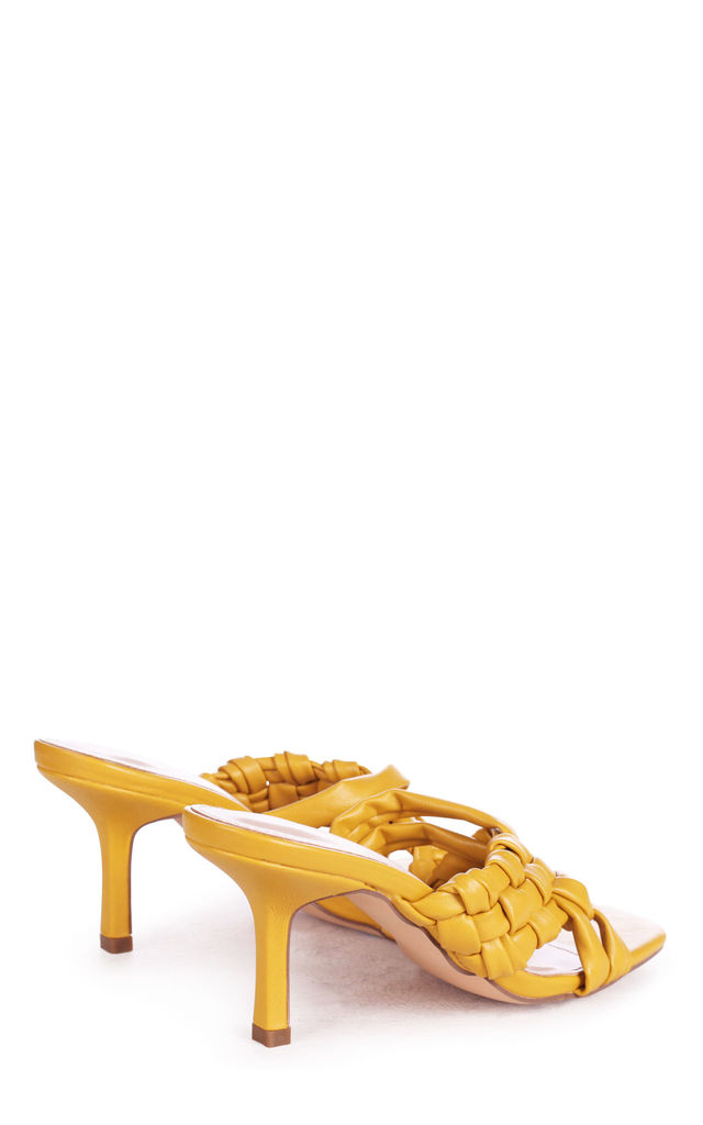 Natalya Yellow Faux Leather Mule With Weaved Crossover Straps by Linzi