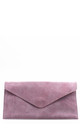 Real suede soft pink leather envelope clutch bag by Hello Handbag