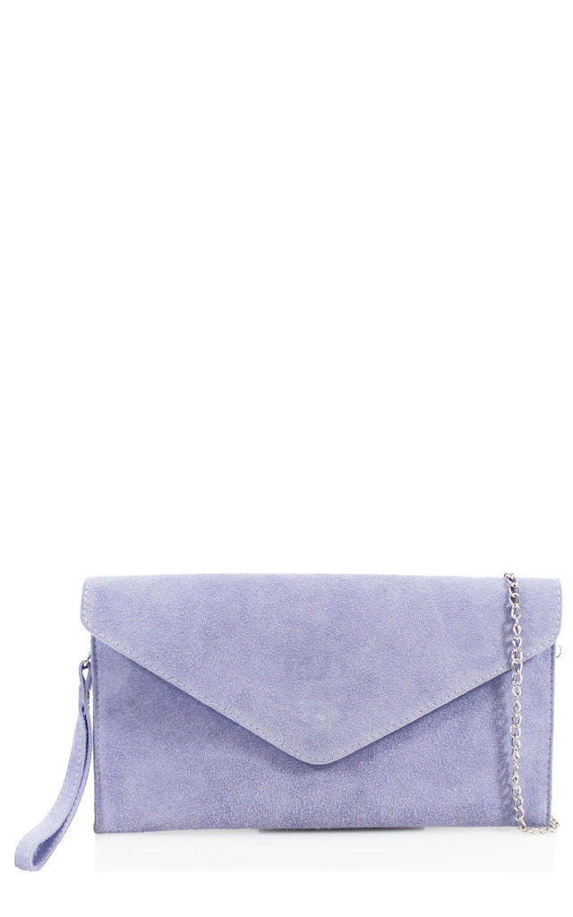Real suede lilac leather envelope clutch bag by Hello Handbag