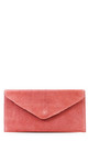 Real suede salmon pink leather envelope clutch bag by Hello Handbag