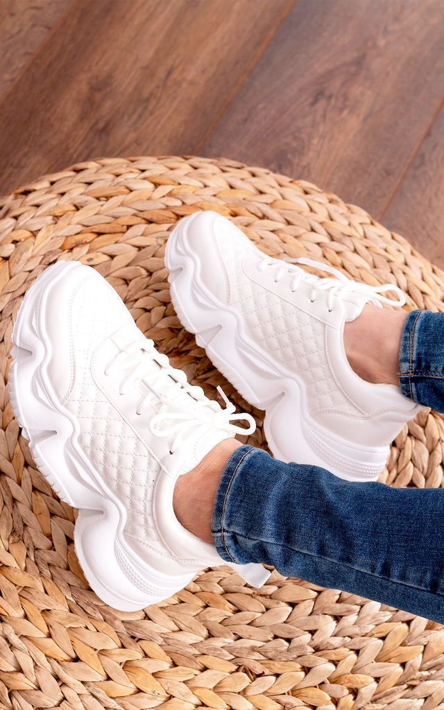 Gotta Move Chunky Thick Arch Sole Trainers In Quilted White by SpyLoveBuy